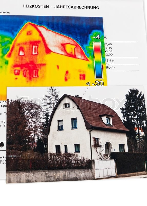 energie sparen haus mit w rmebildkamera stockfoto colourbox. Black Bedroom Furniture Sets. Home Design Ideas