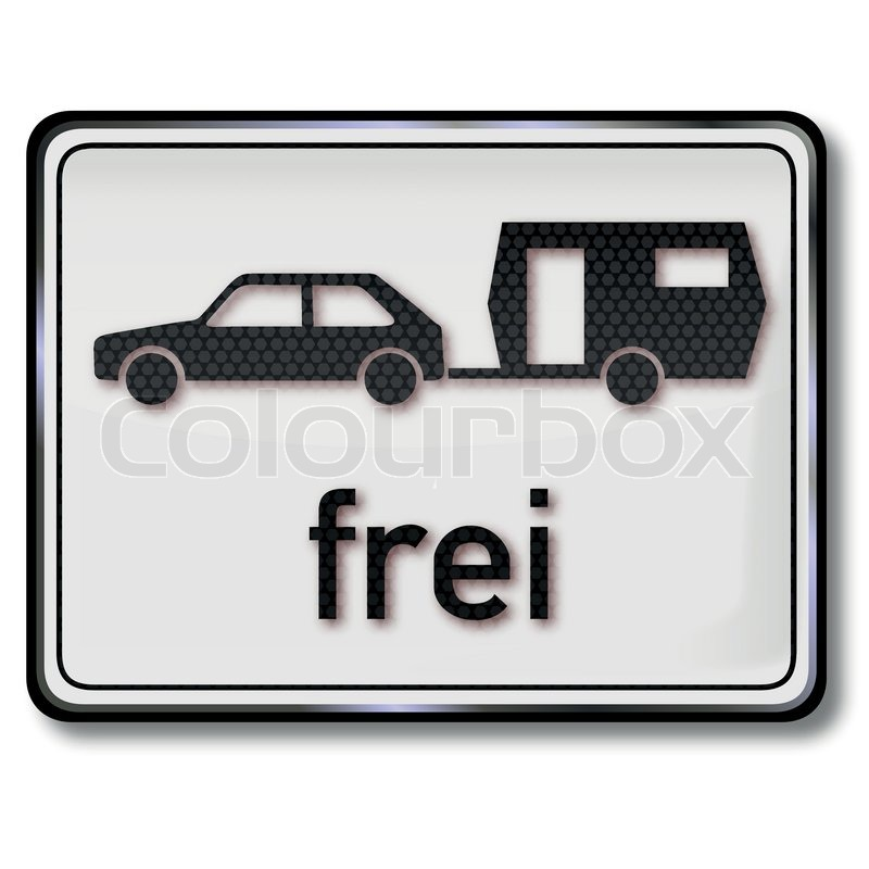 verkehrsschild auto mit wohnwagen frei  stockvektor