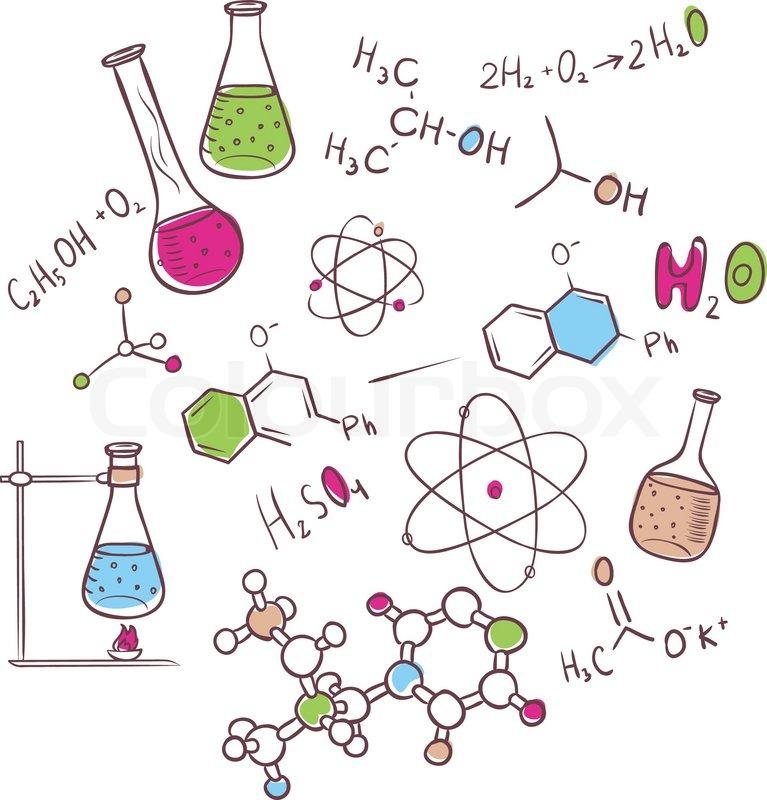 Vektor Illustration Von Hand Zeichnen Chemie Hintergrund