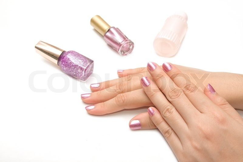 Manicure - Beautiful manicured woman\'s nails with pink nail polish ...