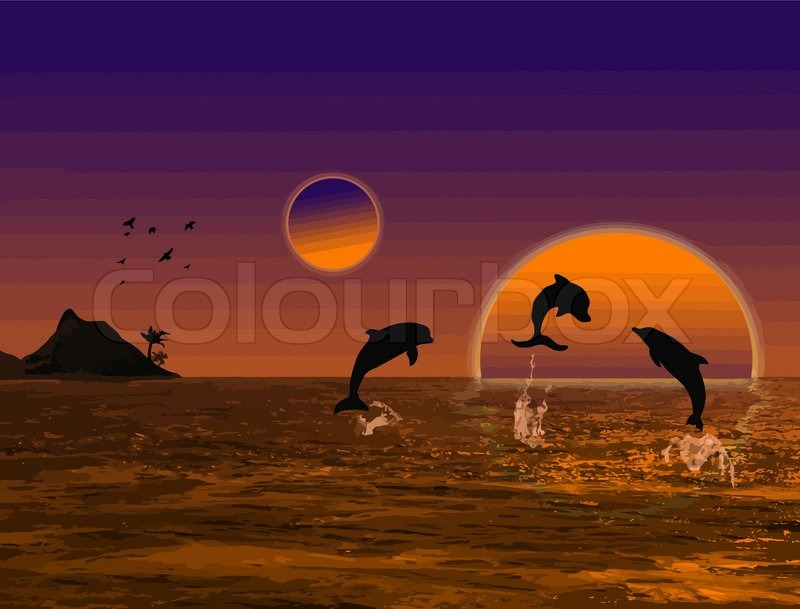 sch ne landschaft bei sonnenuntergang mit delfinen und. Black Bedroom Furniture Sets. Home Design Ideas