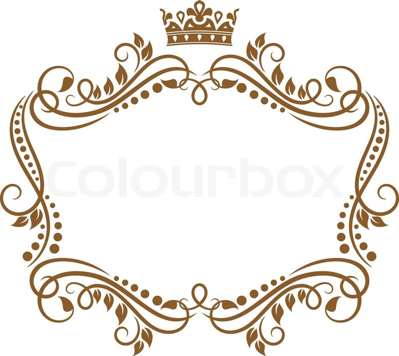 Retro frame with royal crown and flowers for wedding or ...