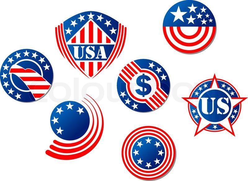 Usa And American Symbols Stock Vector Colourbox