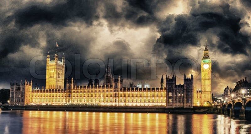 Storm Over Big Ben And House Of Stock Photo Colourbox