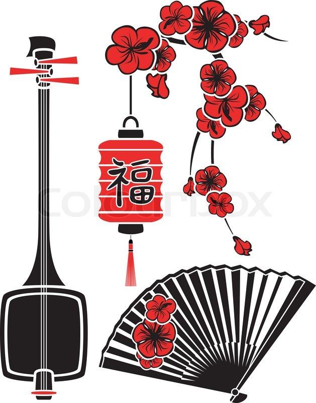 Stock Vector Of Set Japanese Art Shamisen Sakura Fan And Lighteps