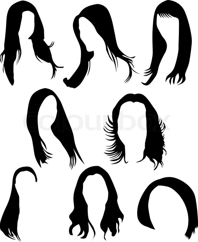 women hair silhouette vector stock vector colourbox rh colourbox com vector hair tutorial vector hairstyles