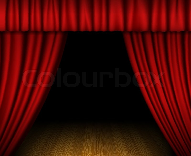 Illustration cinema hall with red curtain and easy chair Stock