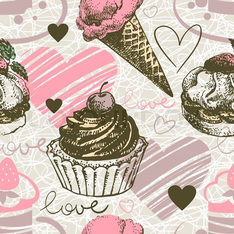 Seamless Pattern With Hand Drawn Watercolor Ice Cream: Seamless Pattern With Hand Drawn Ice Cream And Cakes. Love