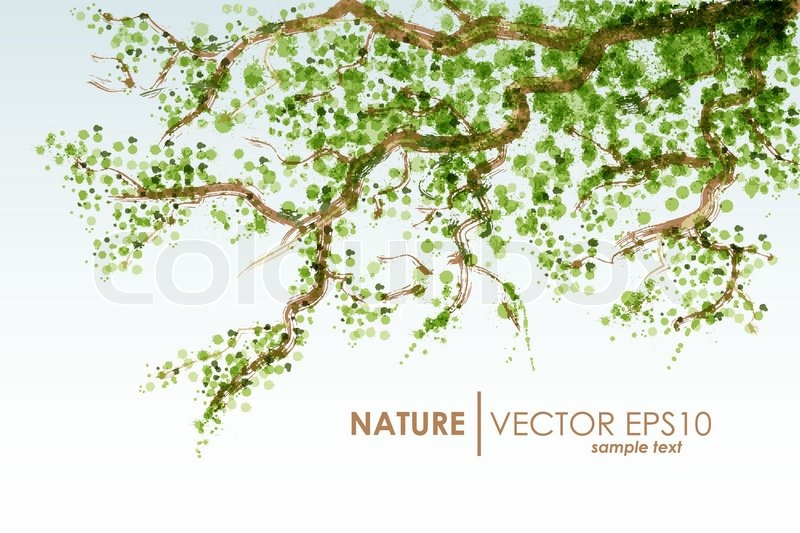 tree branch with leaves vector. natural background vector grunge tree branch with green leaves, leaves