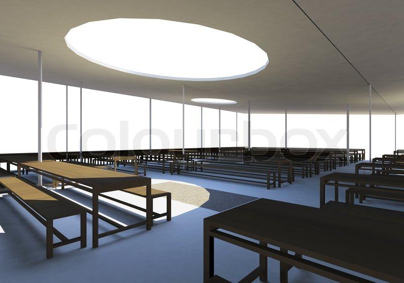 moderne kantine mit holz st hle und tische stockfoto. Black Bedroom Furniture Sets. Home Design Ideas