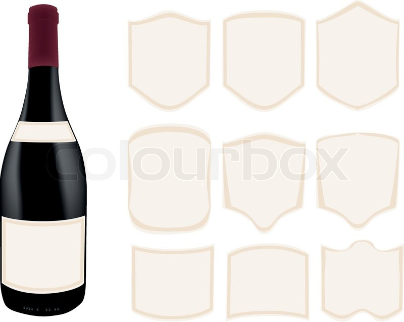 Dark Bottle With Different Style Template Labels Stock Vector - Champagne label template