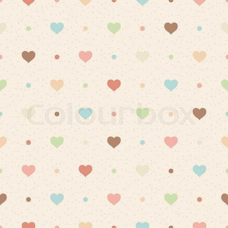Retro nahtlose Muster Farbe Herzen und Punkte auf beige ...