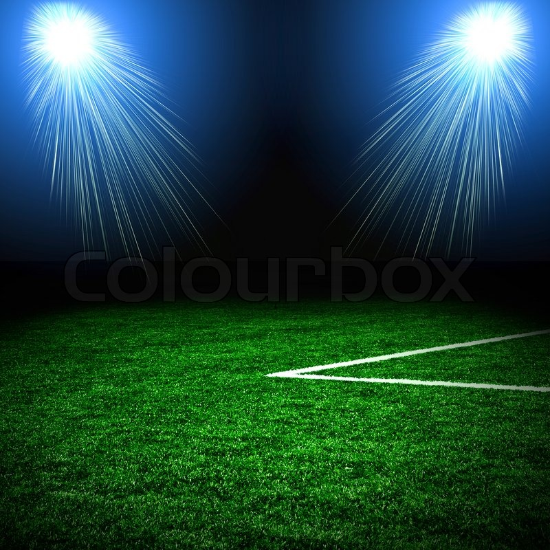 Stadium In Lights And Flashes: Soccer Green Field