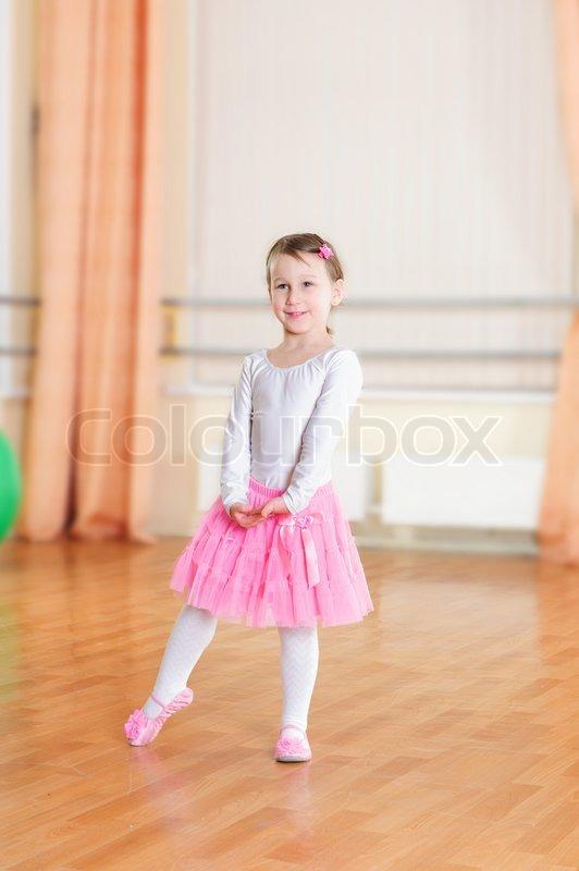 Cute Little Ballet Dancer At Training Class  Stock Photo  Colourbox-4493