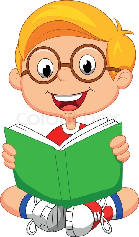 Vector illustration of Young boy cartoon reading book ...