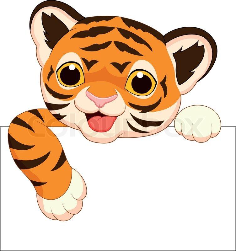 Vector illustration of Cute tiger ... | Stock vector ...
