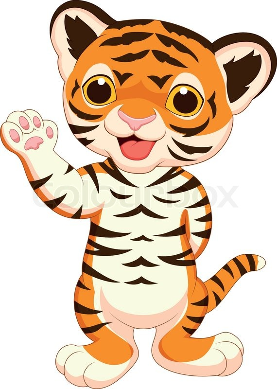 Cute baby tiger cartoon waving | Stock Vector | Colourbox