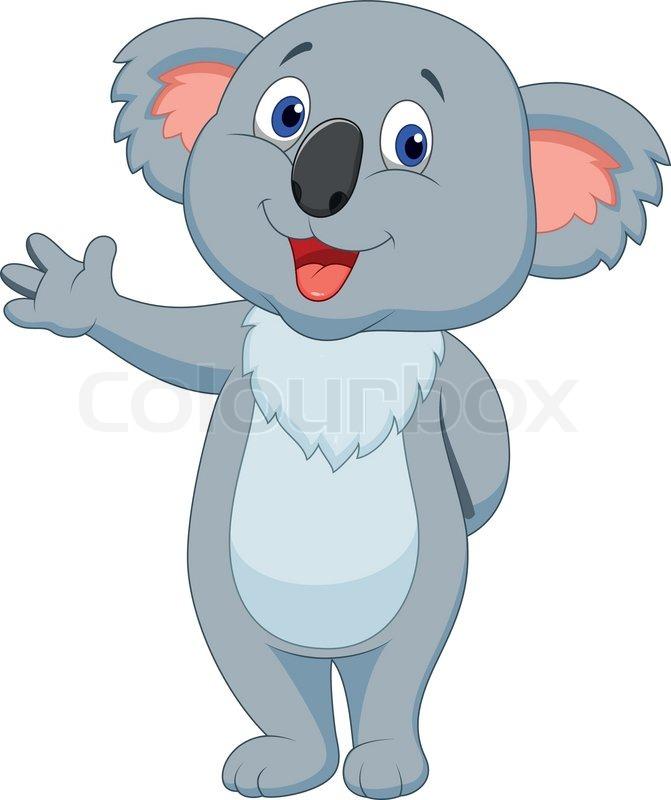 Cute koala cartoon hand waving | Stock Vector | Colourbox