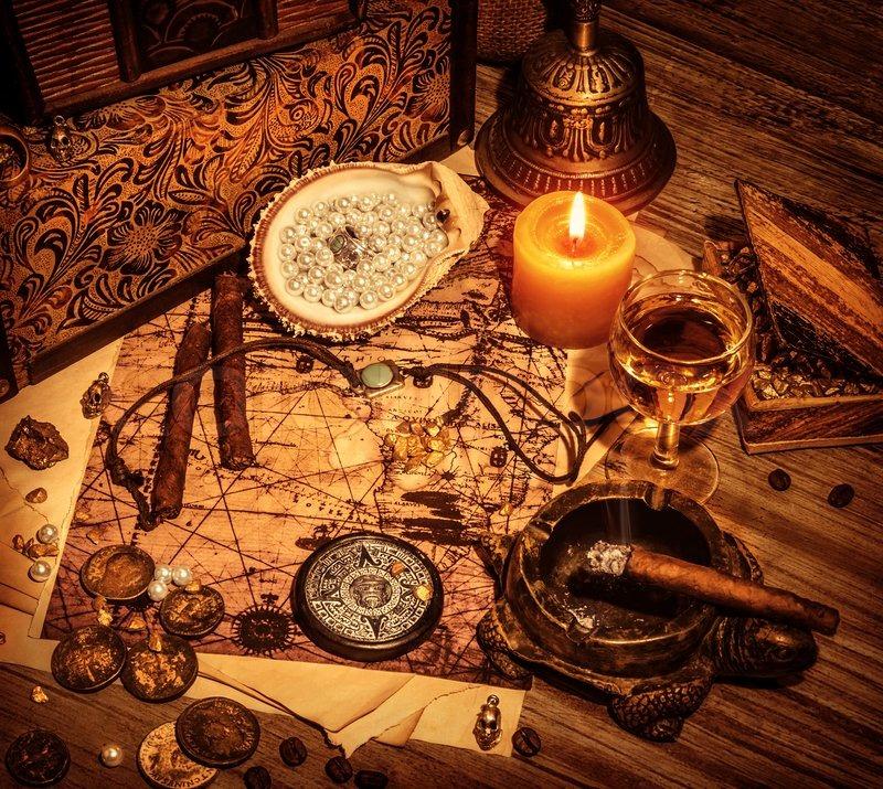 Closeup On Beautiful Buccaneer Treasure Background Luxury