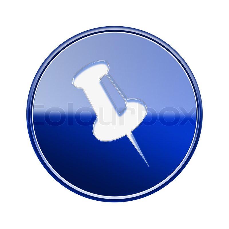 Thumbtack Social Media Icon Thumbtack icon glossy blue,