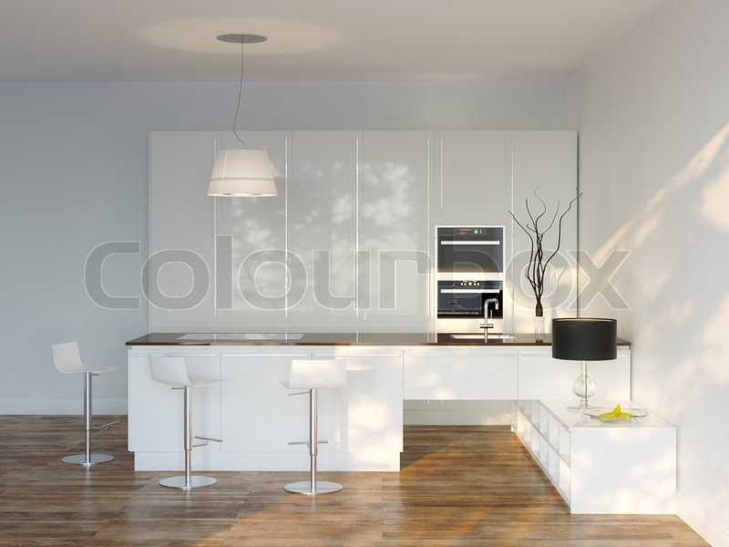 wei e luxus hightech k che mit bar frontansicht. Black Bedroom Furniture Sets. Home Design Ideas