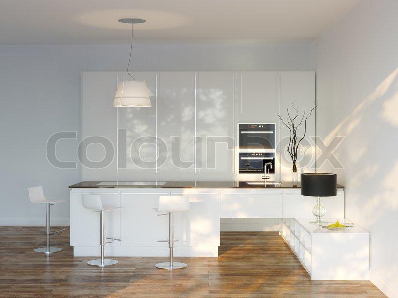 wei e luxus hightech k che mit bar frontansicht stock foto colourbox. Black Bedroom Furniture Sets. Home Design Ideas