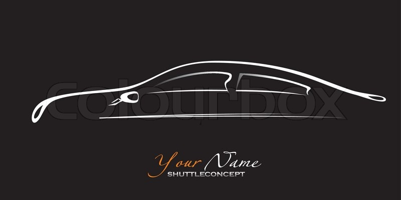 Car Silhouette Of The Old Car On A Black Background Vector Art In Eps