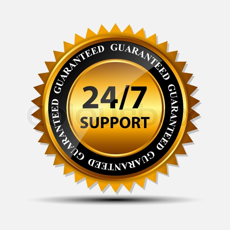 vector 24 7 support gold sign label template stock vector colourbox