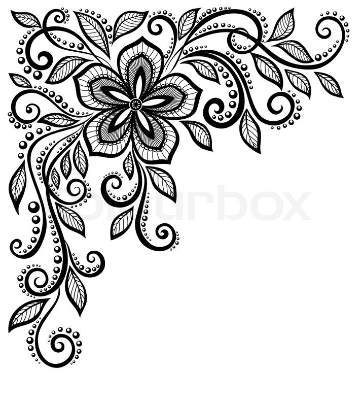Stock vector of beautiful black and white lace flower in the corner