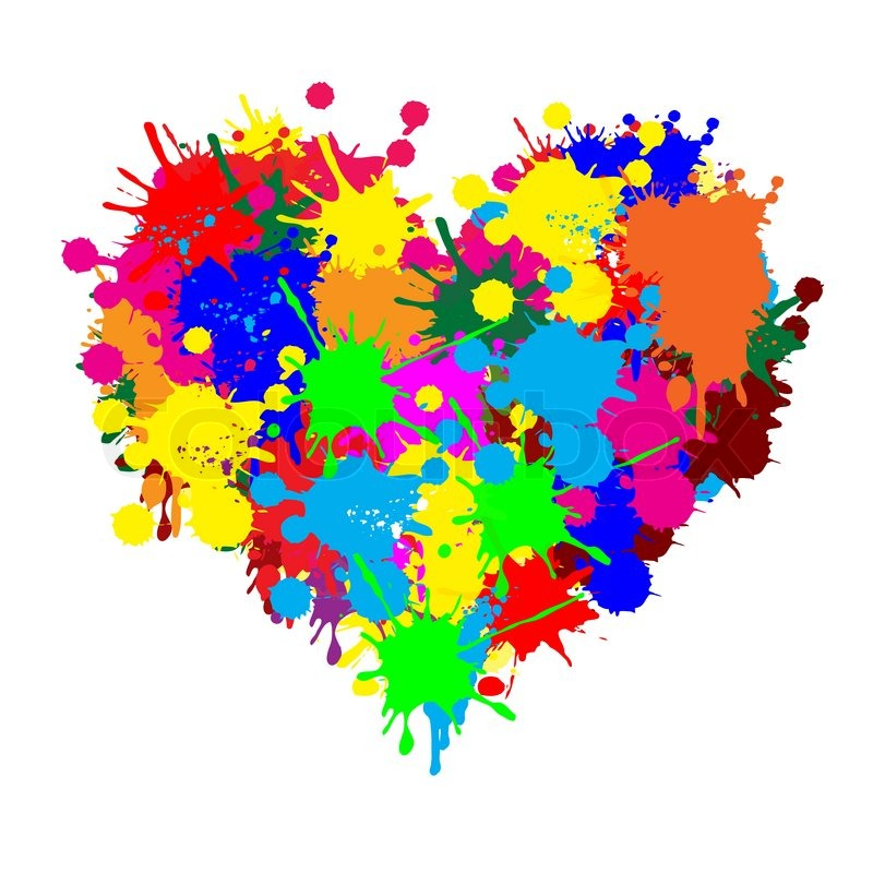 ... Splatters Paint Splatter Heart on White Colorful Paint Splatter Border