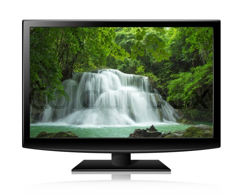 Flat screen tv lcd or led realistic illustration with nature wallpaper, stock photo