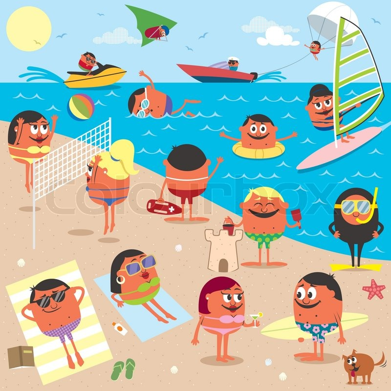 cartoon illustration of busy beach no transparency and gradients rh colourbox com animated cartoon beach scene cartoon beach scene clipart