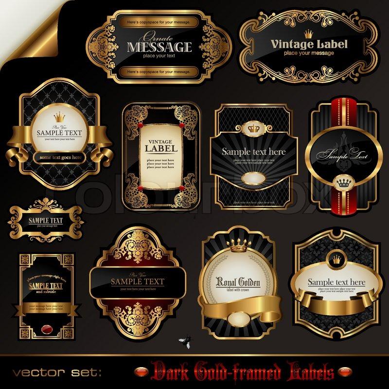 9530276baf6 Vector set  black gold-framed labels
