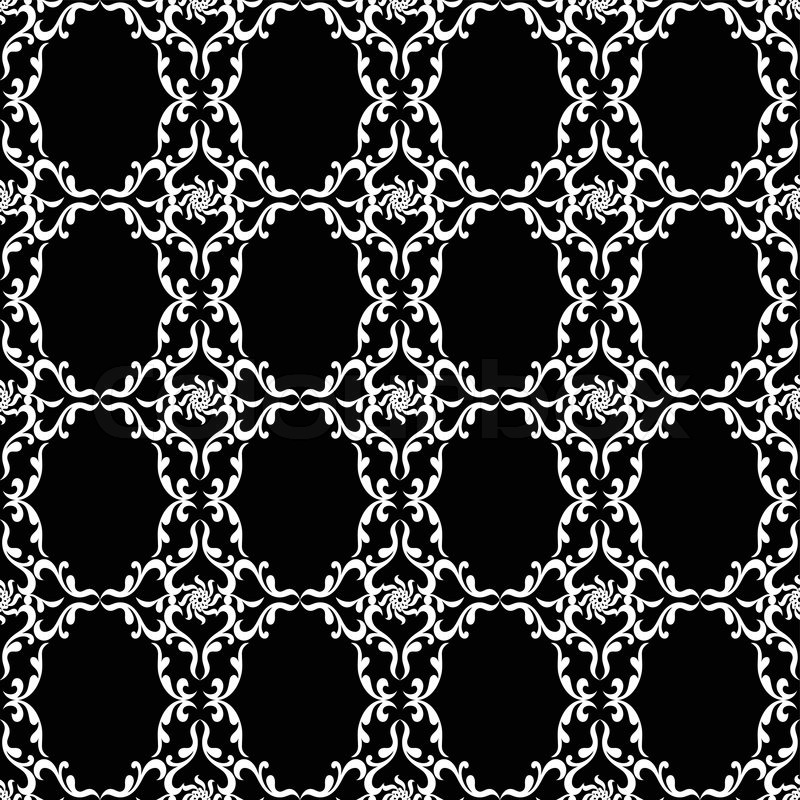Vintage backgrounds damask ornament monochrome seamless for Arabesque style decoration