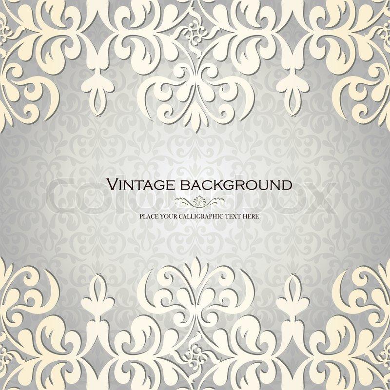 Vintage Hintergrund , Alte Grußkarte, Einladung Mit Spitze Und Floralen  Ornamenten , Schön, Luxus  Postkarte, Altes Papier , Verziert Deckblatt ...