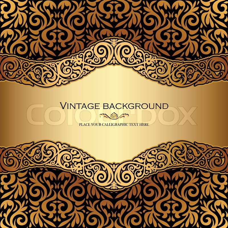 Contoh Banner: Vintage Background, Antique, Victorian Gold Ornament