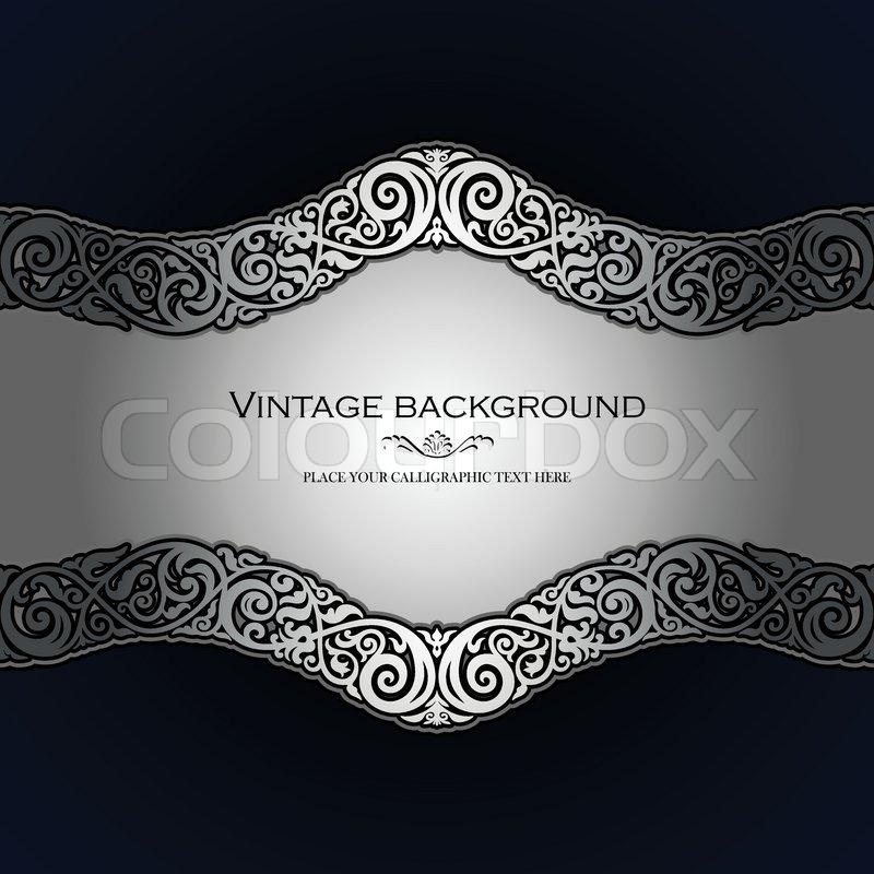 Vintage background, antique, victorian silver ornament ...