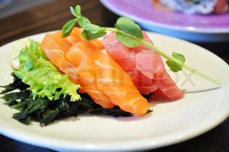 Sashimi raw fish with vegetables japanese food stock for Best sashimi fish