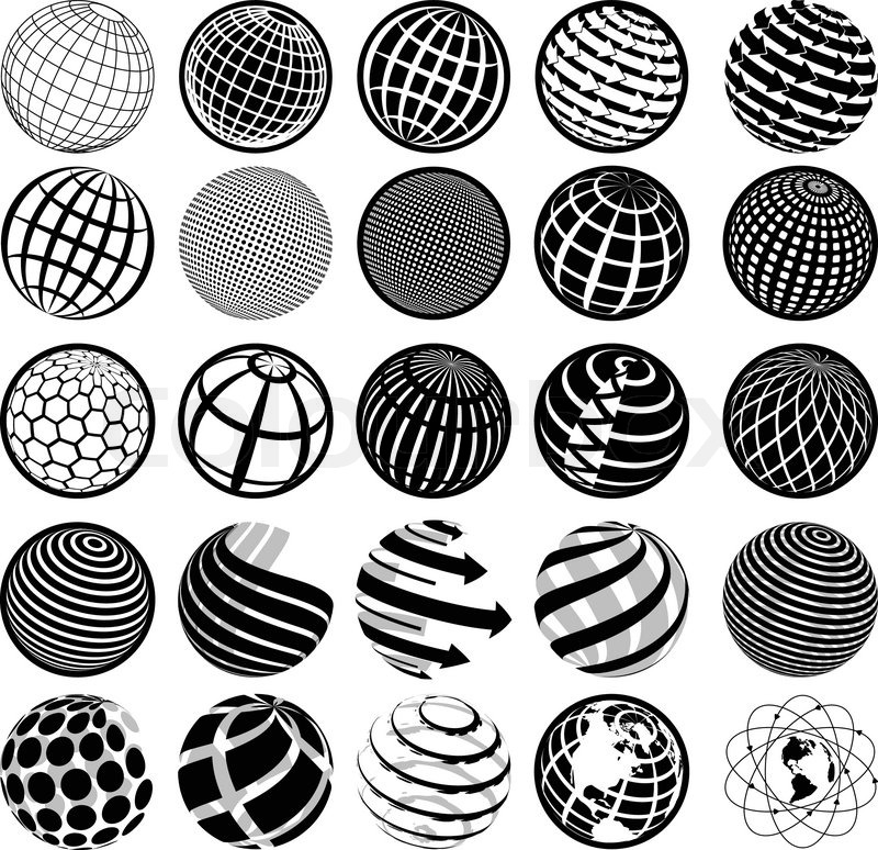 schwarz wei ikonen globus vektorgrafik colourbox. Black Bedroom Furniture Sets. Home Design Ideas