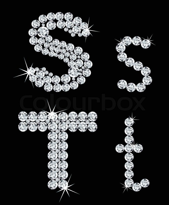 set of diamond alphabetic letters vector stock vector