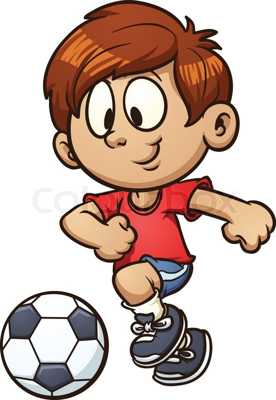 cartoon kid playing soccer vector clip art illustration with simple gradients all in a single layer stock vector colourbox