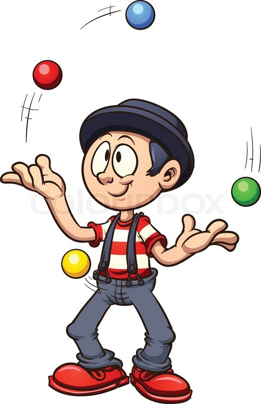 cartoon juggler vector clip art illustration with simple gradients rh colourbox com circus juggler clipart circus juggler clipart