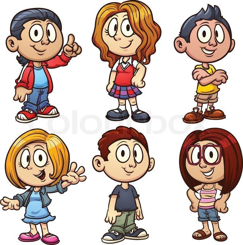 cartoon kids vector clip art illustration with simple gradients each in a separate layer stock vector colourbox
