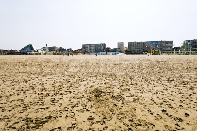 Resort buildings at sand beach in Le Touquet on English Channel coast, France, stock photo