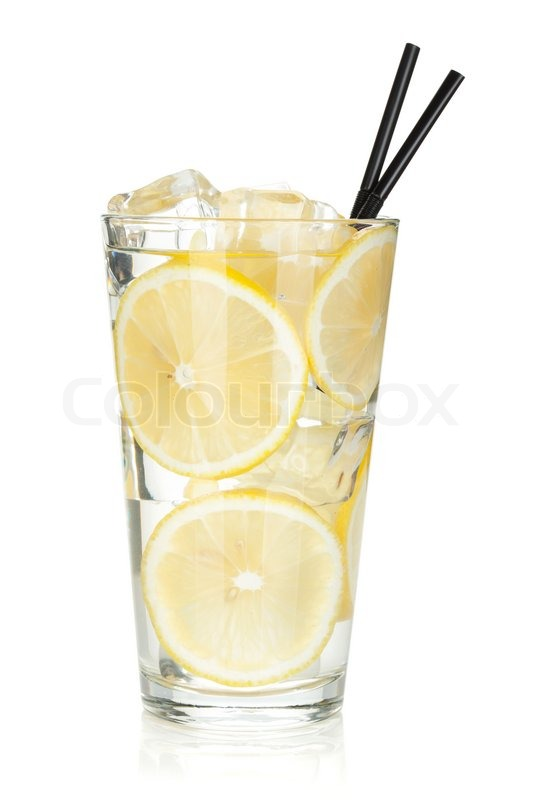 glass of lemonade with lemon slices isolated on white