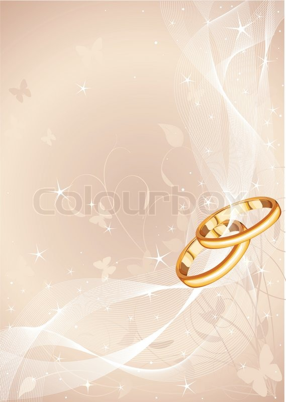 Wedding rings background with copy space Stock Vector Colourbox