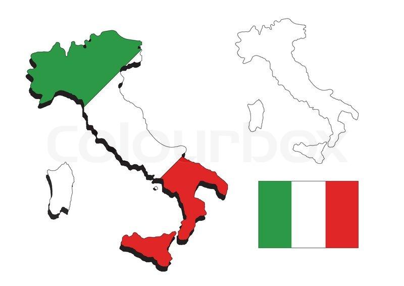 Kort Over Italien Stock Foto Colourbox
