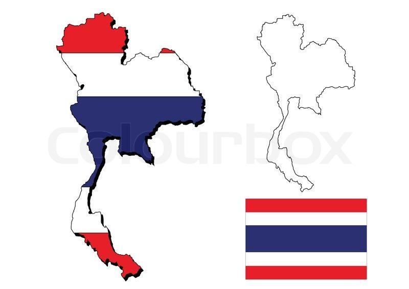 Kort Over Thailand Med Flaget Stock Foto Colourbox