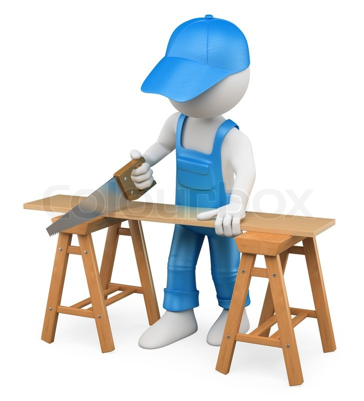 3d white person carpenter cutting wood with a handsaw ...
