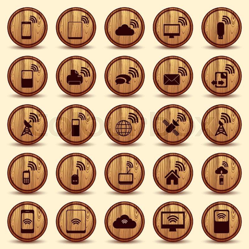 Holz Ikonen WiFi Mobile und drahtlose Buttons   Vektorgrafik   Colourbox